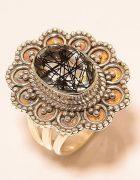 Δαχτυλίδι απο μαύρο χαλαζία με ρουτίλιο