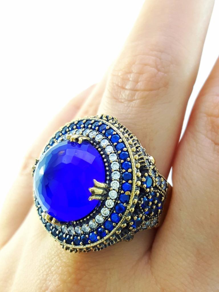 Μεγάλο ασημένιο δαχτυλίδι - μπλού χαλαζία