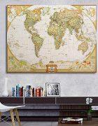 Παγκόσμιος χάρτης απο μεταξωτό ύφασμα